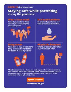 Wear a face mask, use hand sanitizer, bring water, and physically distance whenever possible.