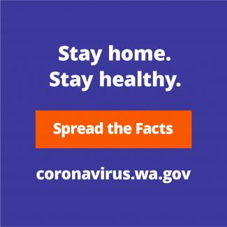 Stay home. Stay Healthy. Spread the Facts. coronavirus.wa.gov. White text on purple background