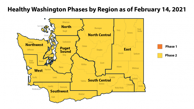 Map of Healthy WA Regions showing the entire state in Phase 2